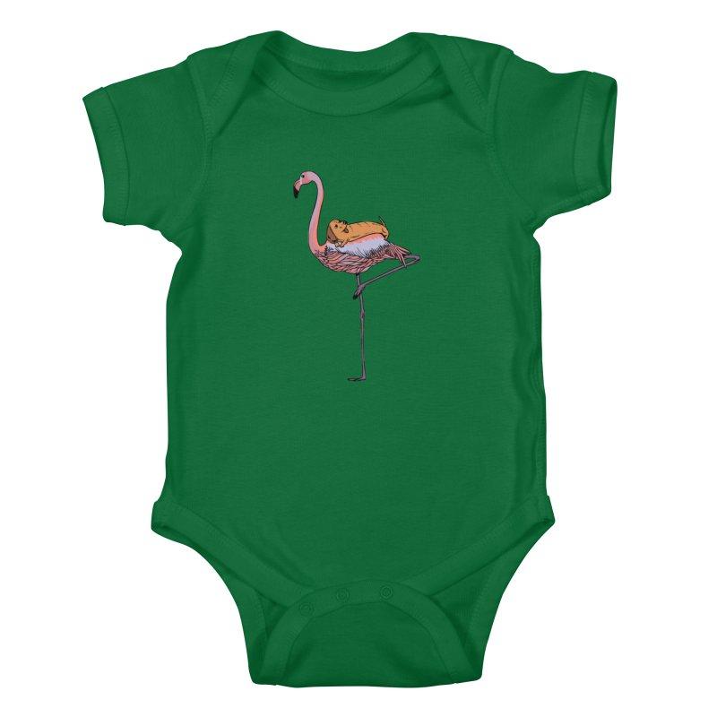 Flamingo and Dachshund Kids Baby Bodysuit by huebucket's Artist Shop