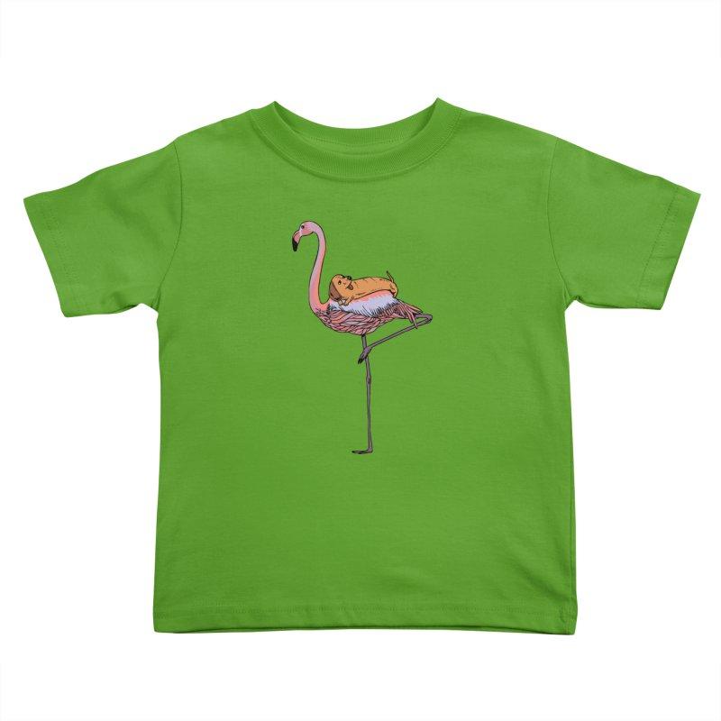 Flamingo and Dachshund Kids Toddler T-Shirt by huebucket's Artist Shop