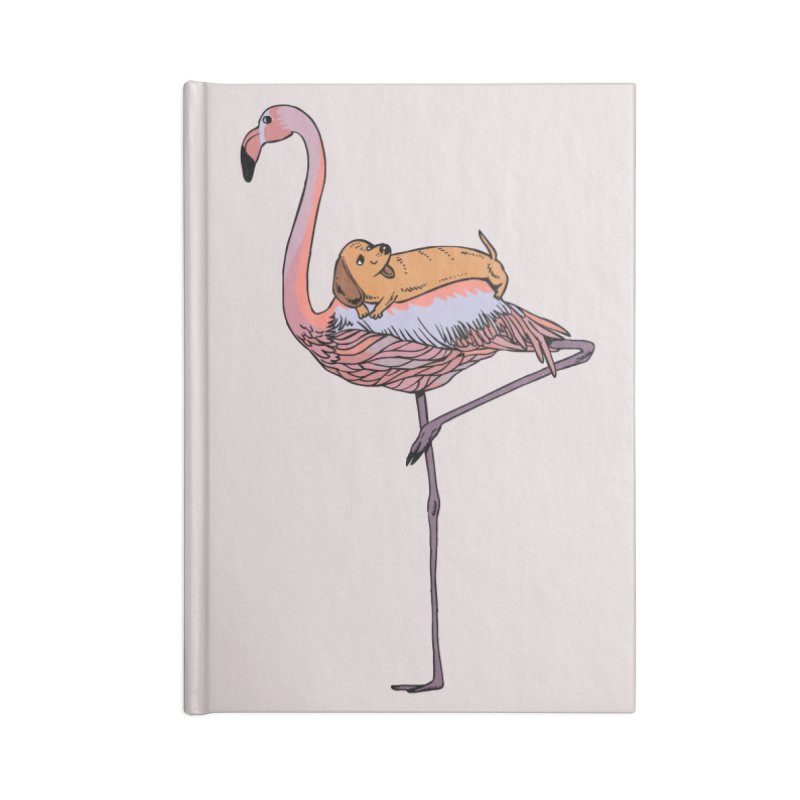 Flamingo and Dachshund Accessories Lined Journal Notebook by huebucket's Artist Shop