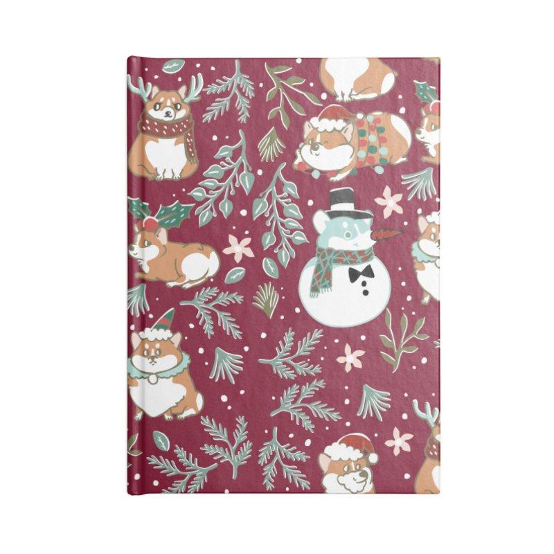Christmas Corgis Accessories Lined Journal Notebook by huebucket's Artist Shop