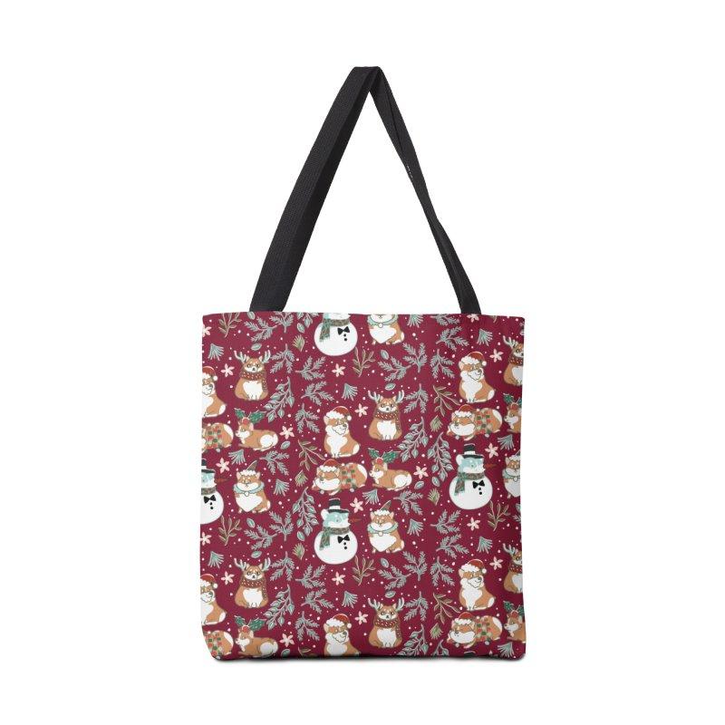 Christmas Corgis Accessories Bag by huebucket's Artist Shop