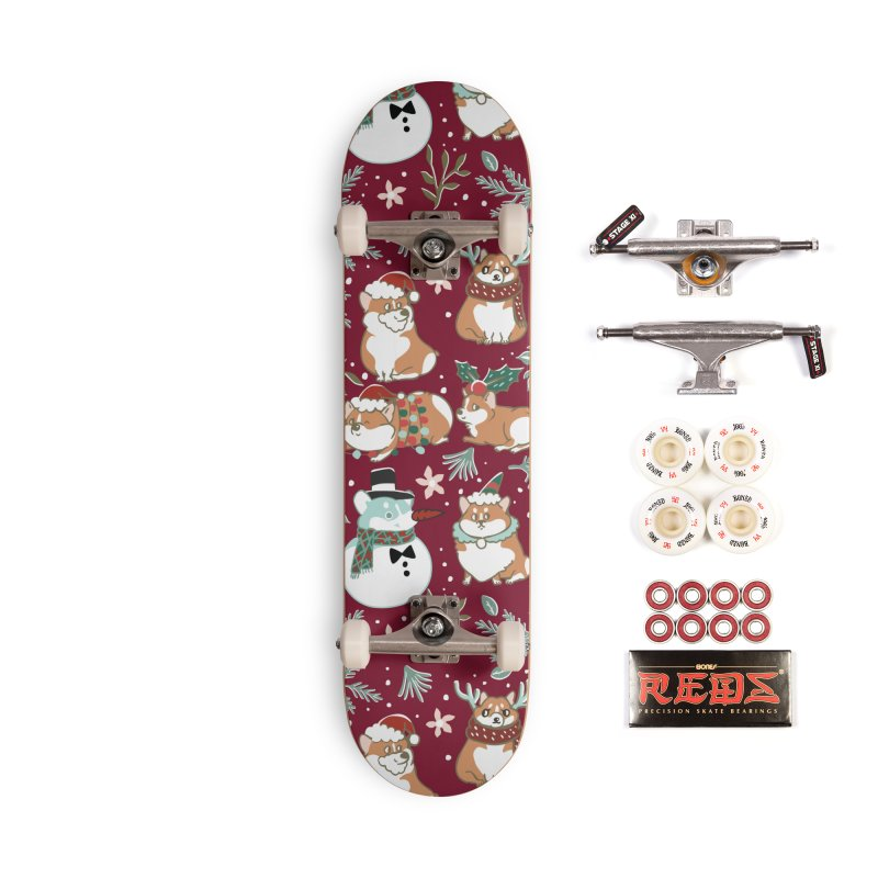 Christmas Corgis Accessories Skateboard by huebucket's Artist Shop