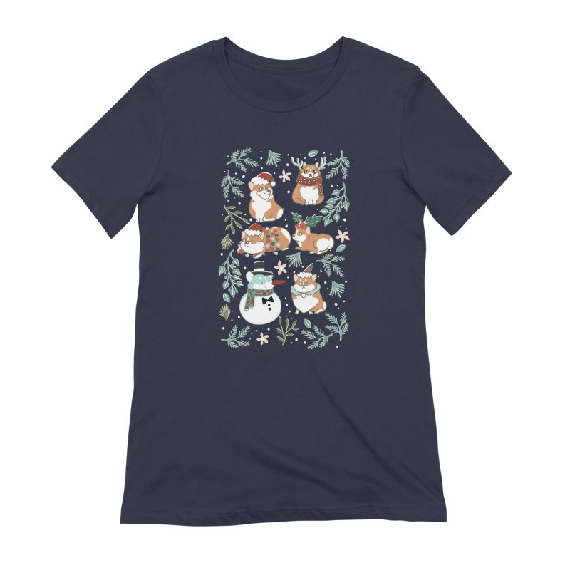 Christmas Corgis Women's Extra Soft T-Shirt by huebucket's Artist Shop