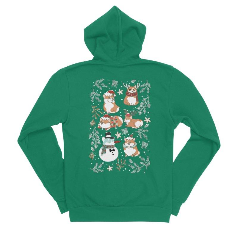Christmas Corgis Women's Sponge Fleece Zip-Up Hoody by huebucket's Artist Shop