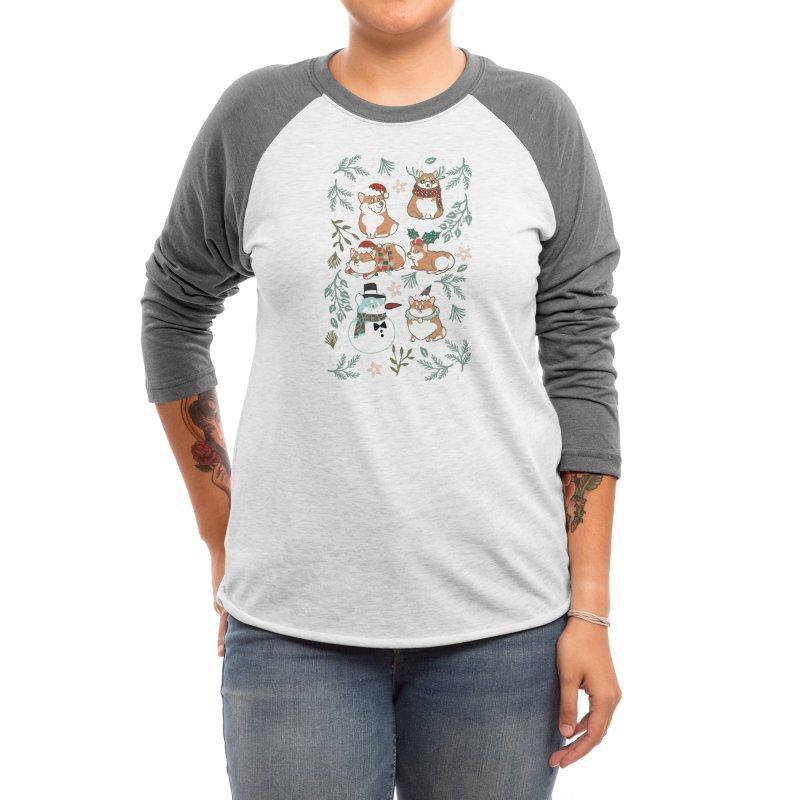 Christmas Corgis Women's Longsleeve T-Shirt by huebucket's Artist Shop