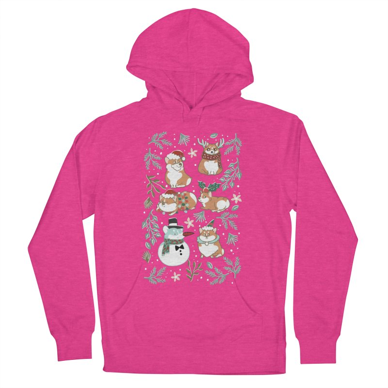 Christmas Corgis Women's French Terry Pullover Hoody by huebucket's Artist Shop
