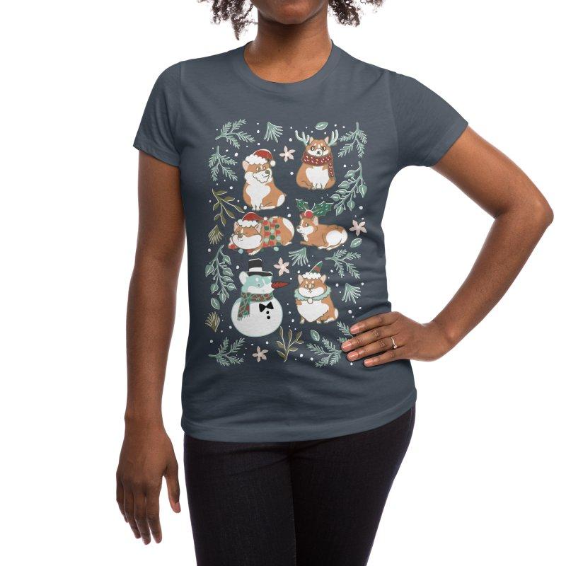 Christmas Corgis Women's T-Shirt by huebucket's Artist Shop