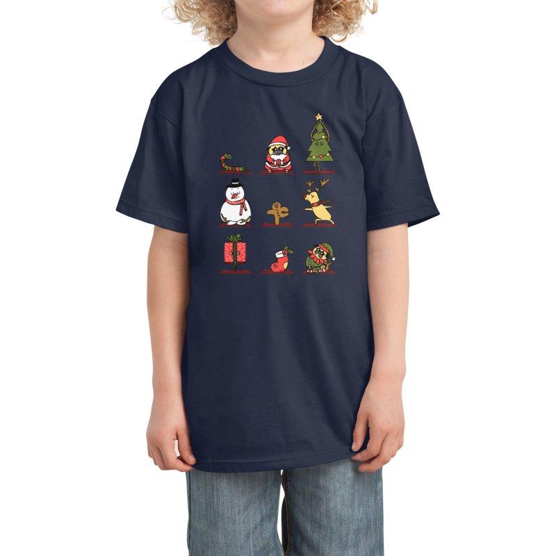 Christmas Yoga Kids T-Shirt by huebucket's Artist Shop