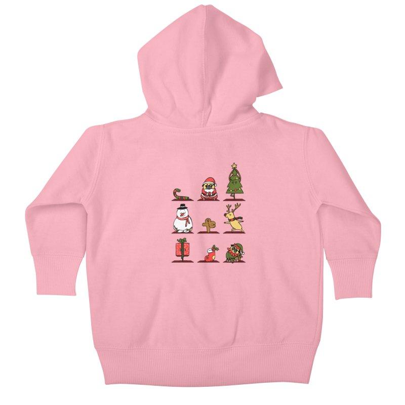 Christmas Yoga Kids Baby Zip-Up Hoody by huebucket's Artist Shop