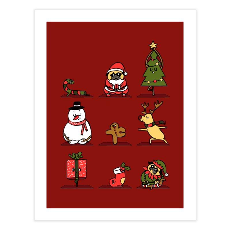 Christmas Yoga Home Fine Art Print by huebucket's Artist Shop