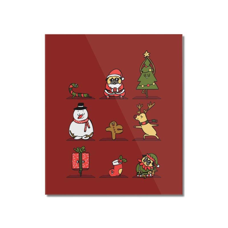 Christmas Yoga Home Mounted Acrylic Print by huebucket's Artist Shop