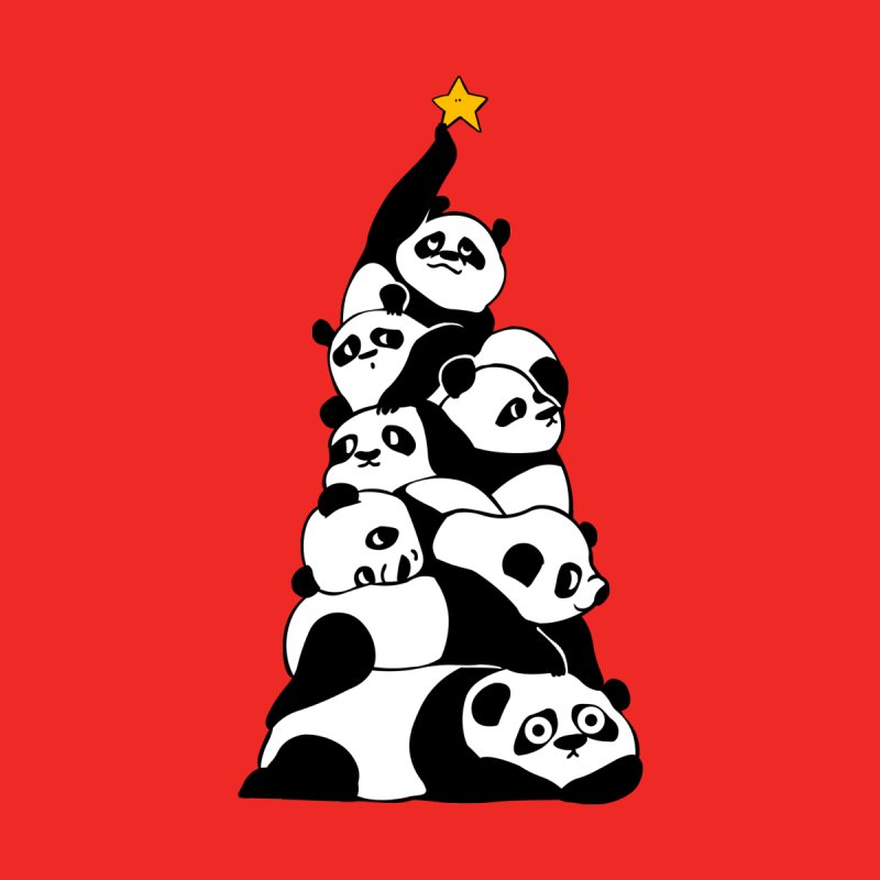 Christmas Tree Pandas Women's T-Shirt by huebucket's Artist Shop