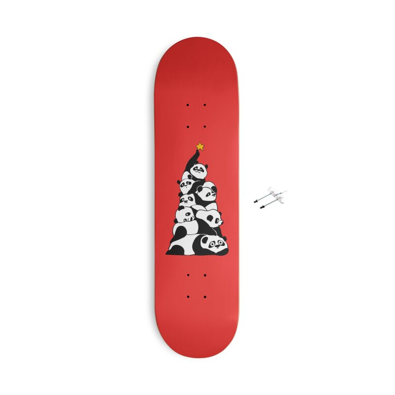 Christmas Tree Pandas Accessories With Hanging Hardware Skateboard by huebucket's Artist Shop