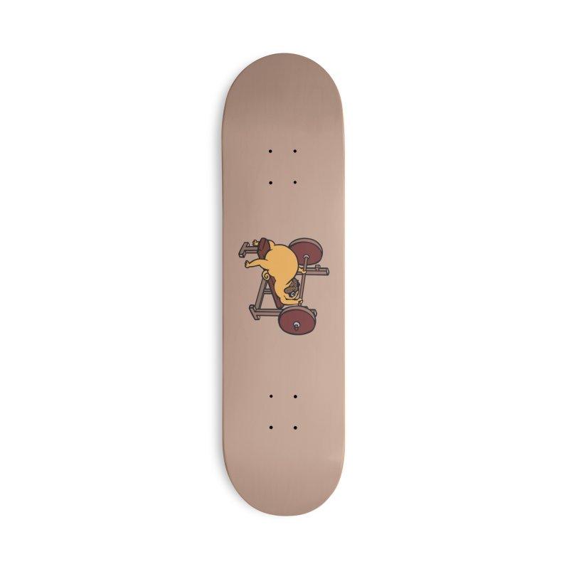 Pug Bench Press Accessories Deck Only Skateboard by huebucket's Artist Shop