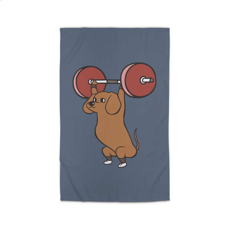 The snatch weightlifting Dachshund Home Rug by huebucket's Artist Shop