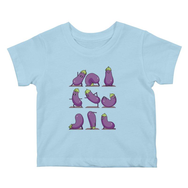 Eggplant Yoga Kids Baby T-Shirt by huebucket's Artist Shop