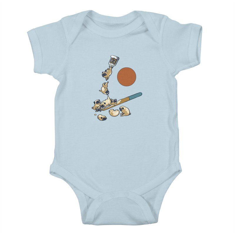 Good Morning Pugs Kids Baby Bodysuit by huebucket's Artist Shop