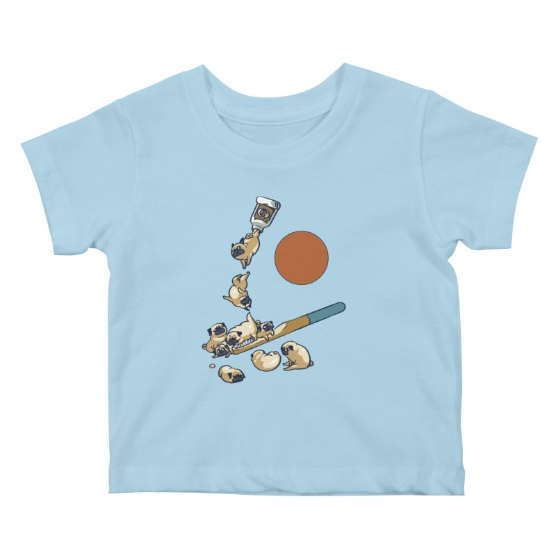Good Morning Pugs Kids Baby T-Shirt by huebucket's Artist Shop