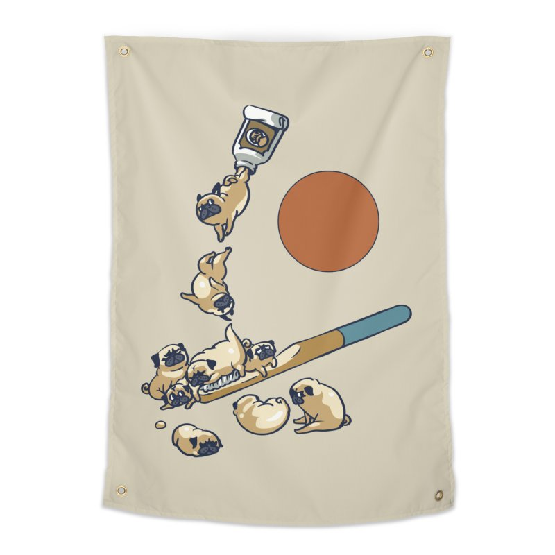 Good Morning Pugs Home Tapestry by huebucket's Artist Shop