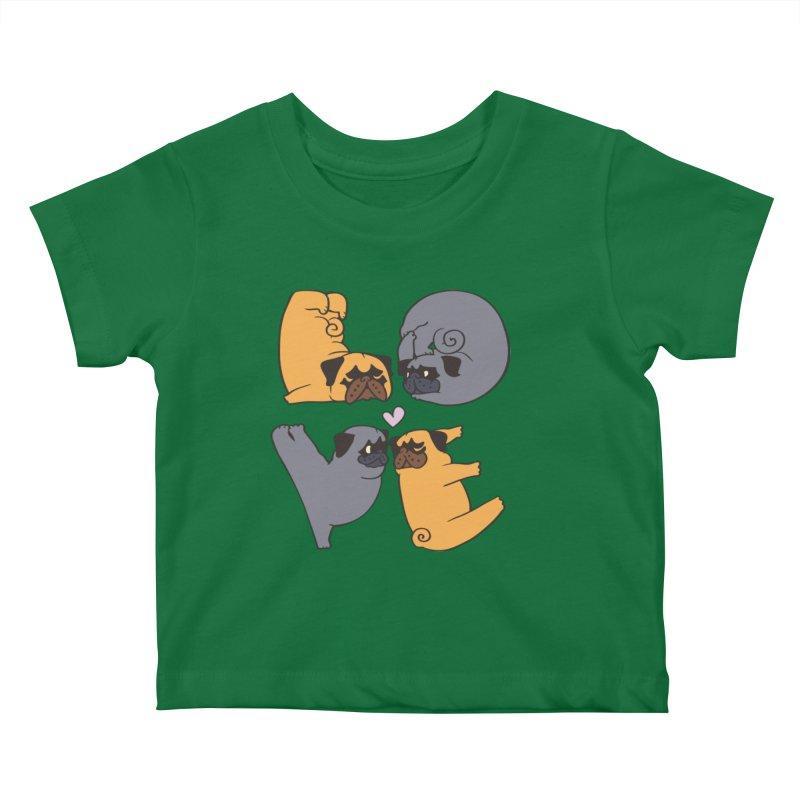 Pug Yoga of Love Kids Baby T-Shirt by huebucket's Artist Shop