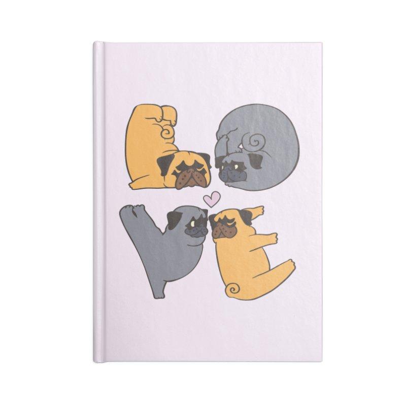 Pug Yoga of Love Accessories Blank Journal Notebook by huebucket's Artist Shop