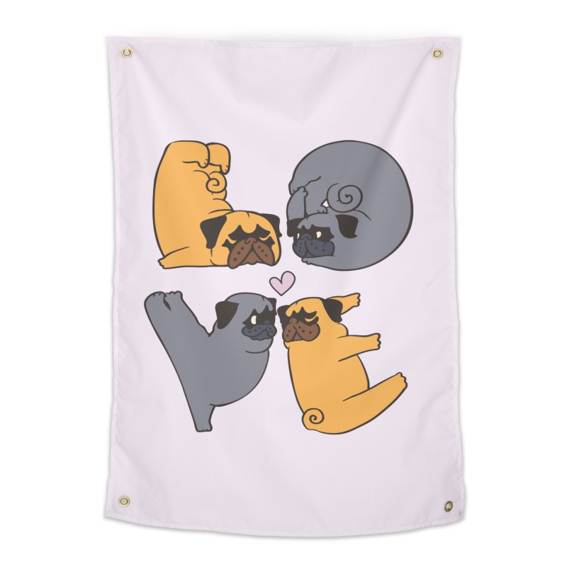 Pug Yoga of Love Home Tapestry by huebucket's Artist Shop