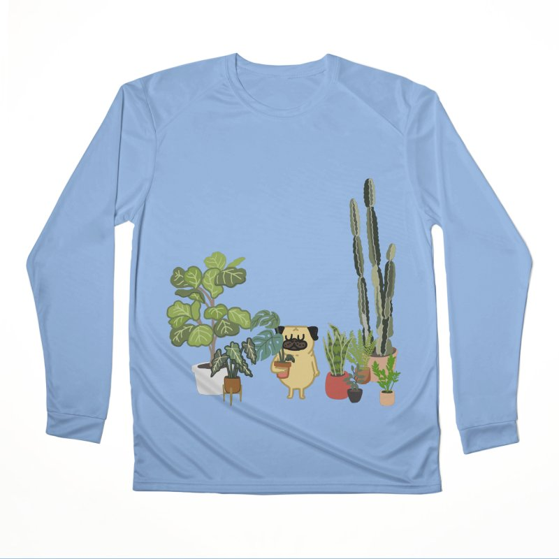 Pug and Plants Women's Performance Unisex Longsleeve T-Shirt by huebucket's Artist Shop