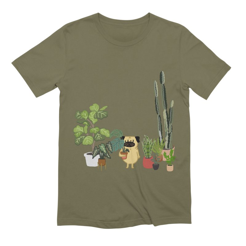 Pug and Plants Men's Extra Soft T-Shirt by huebucket's Artist Shop
