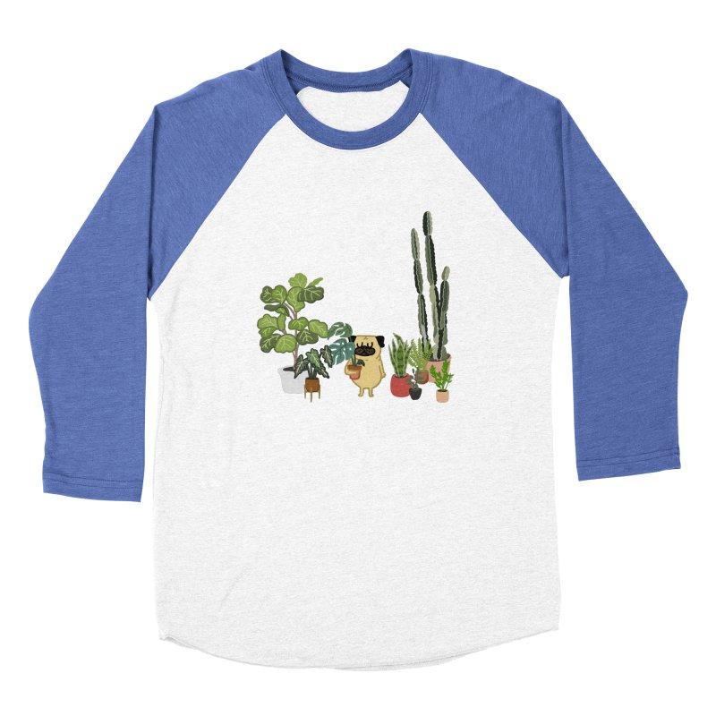 Pug and Plants Men's Baseball Triblend Longsleeve T-Shirt by huebucket's Artist Shop