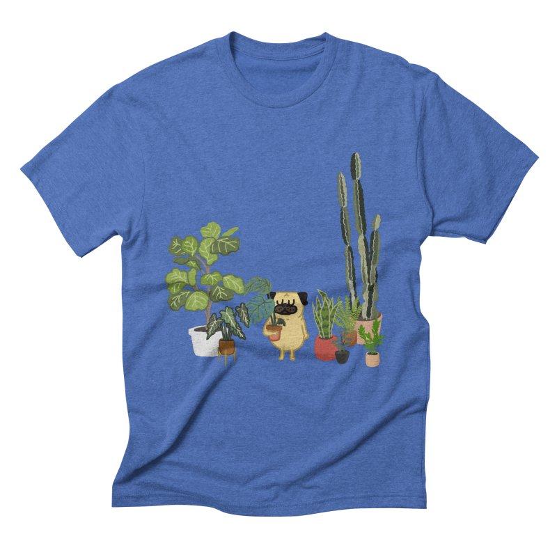 Pug and Plants Men's T-Shirt by huebucket's Artist Shop