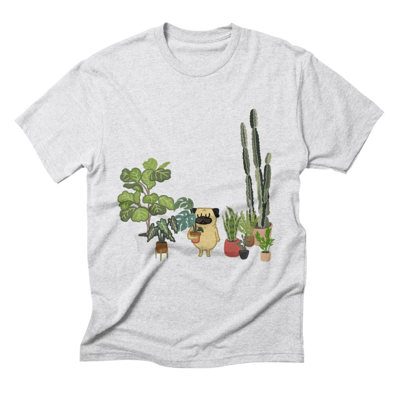 Pug and Plants Men's Triblend T-Shirt by huebucket's Artist Shop