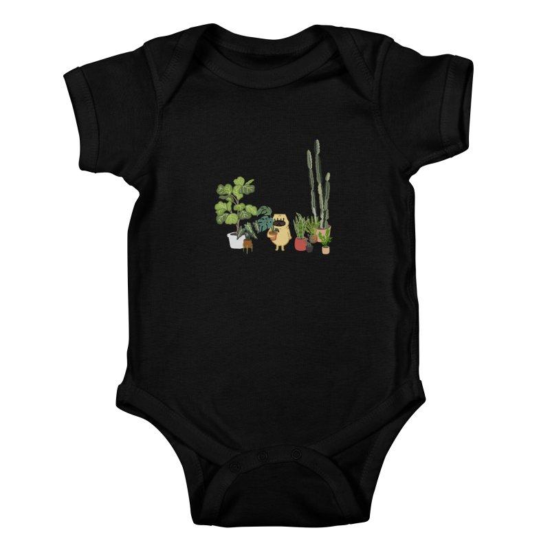 Pug and Plants Kids Baby Bodysuit by huebucket's Artist Shop