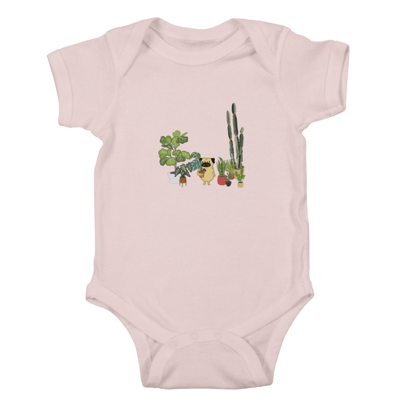 Pug and Plants Kids Baby Bodysuit by huebucket's Artist Shop