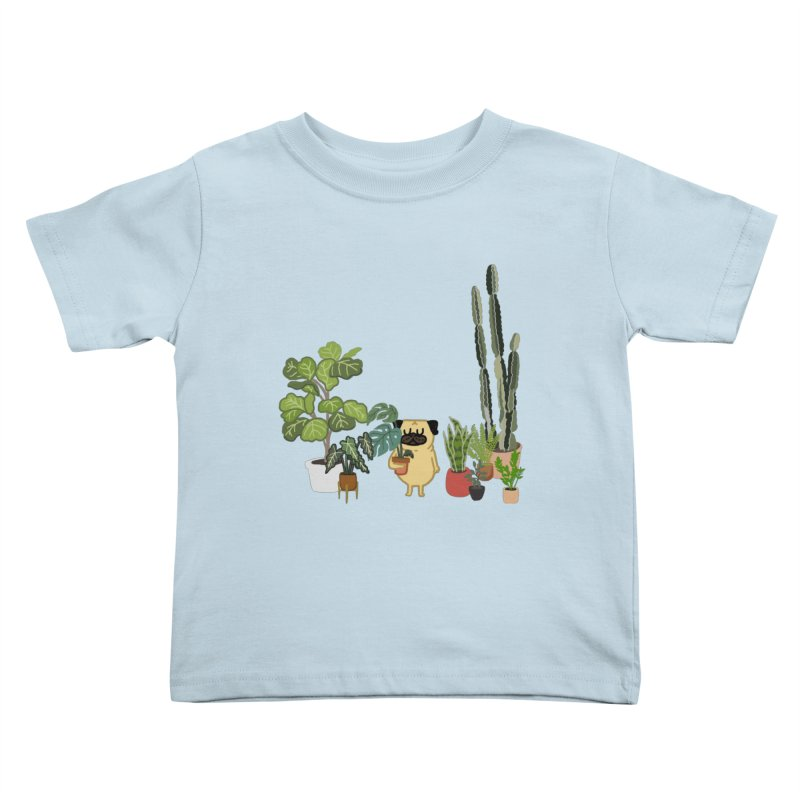Pug and Plants Kids Toddler T-Shirt by huebucket's Artist Shop
