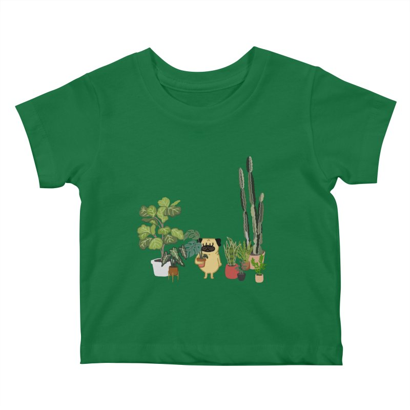 Pug and Plants Kids Baby T-Shirt by huebucket's Artist Shop