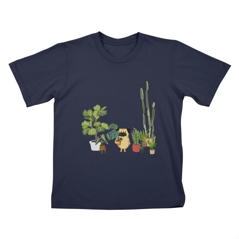 Pug and Plants Kids T-Shirt by huebucket's Artist Shop