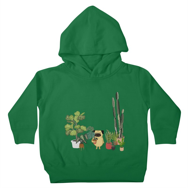 Pug and Plants Kids Toddler Pullover Hoody by huebucket's Artist Shop