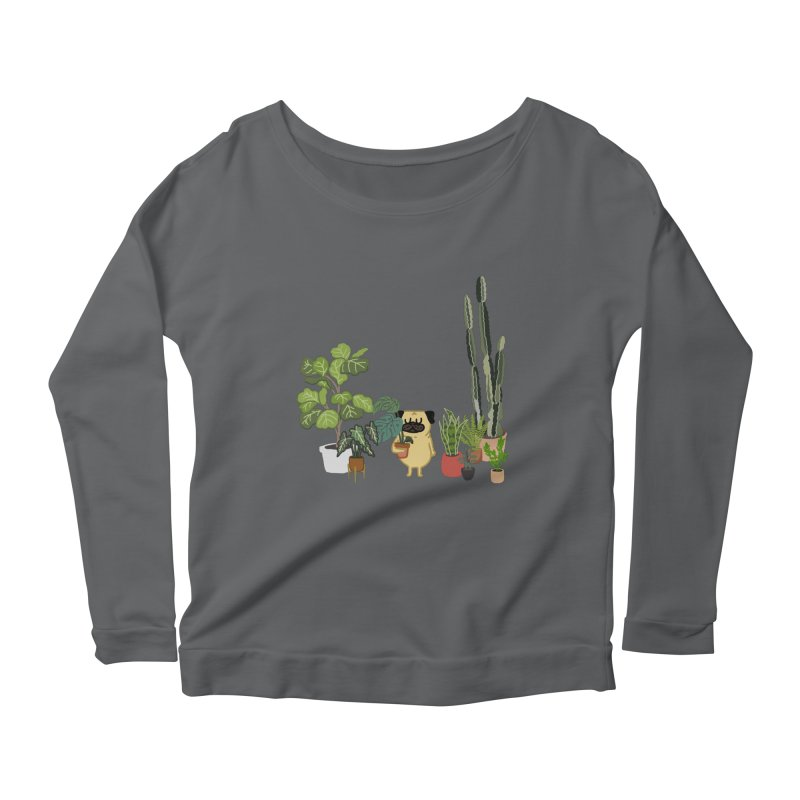 Pug and Plants Women's Scoop Neck Longsleeve T-Shirt by huebucket's Artist Shop