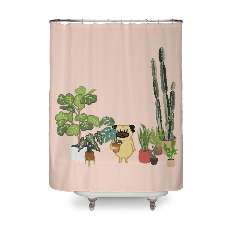 Pug and Plants Home Shower Curtain by huebucket's Artist Shop