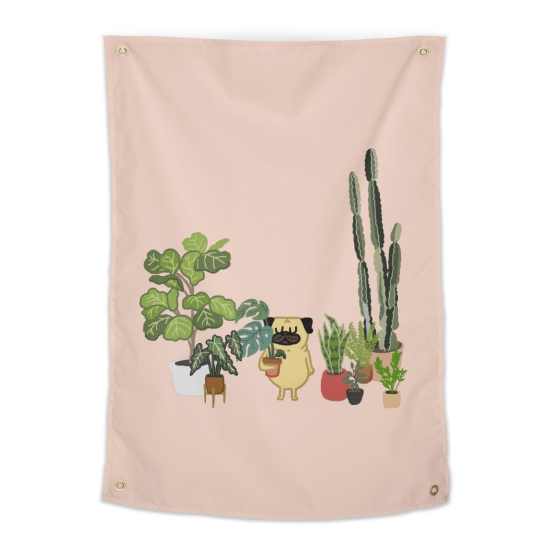 Pug and Plants Home Tapestry by huebucket's Artist Shop