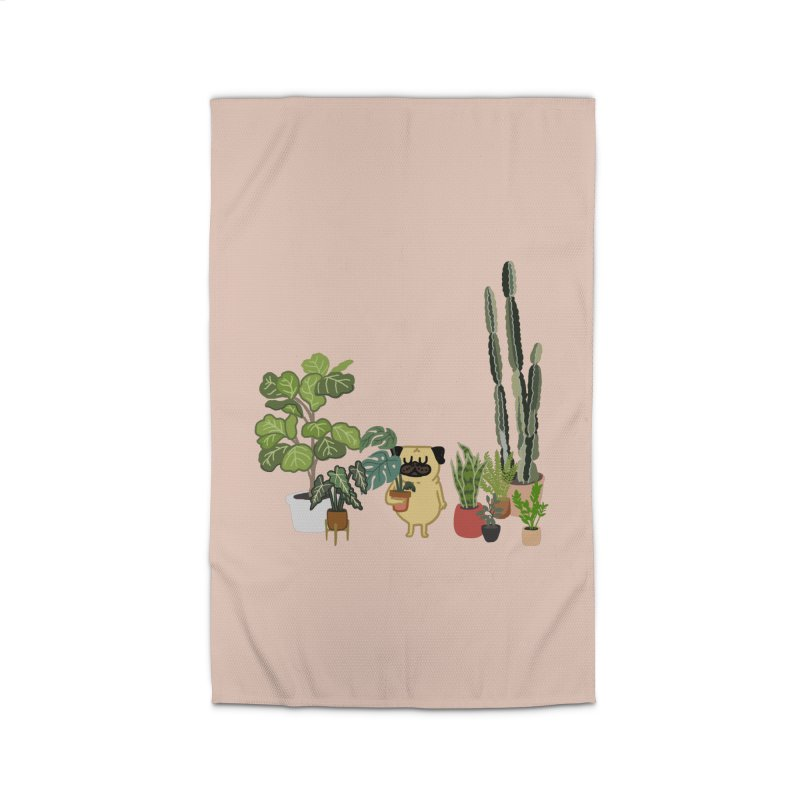 Pug and Plants Home Rug by huebucket's Artist Shop