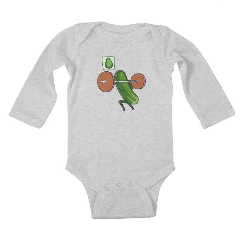 Cucumber Squats Kids Baby Longsleeve Bodysuit by huebucket's Artist Shop