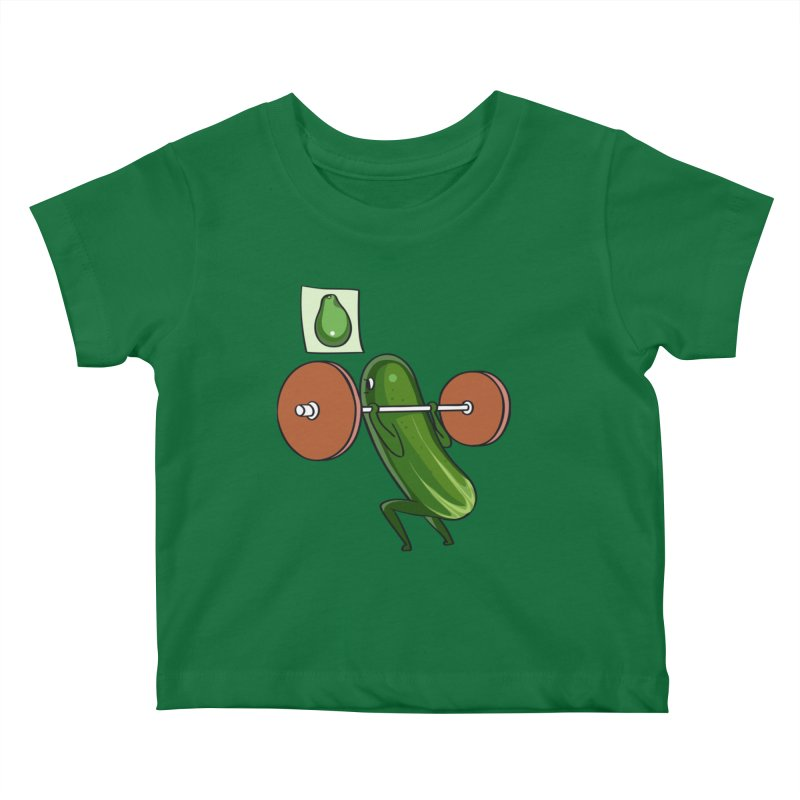 Cucumber Squats Kids Baby T-Shirt by huebucket's Artist Shop