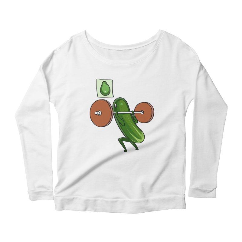 Cucumber Squats Women's Scoop Neck Longsleeve T-Shirt by huebucket's Artist Shop