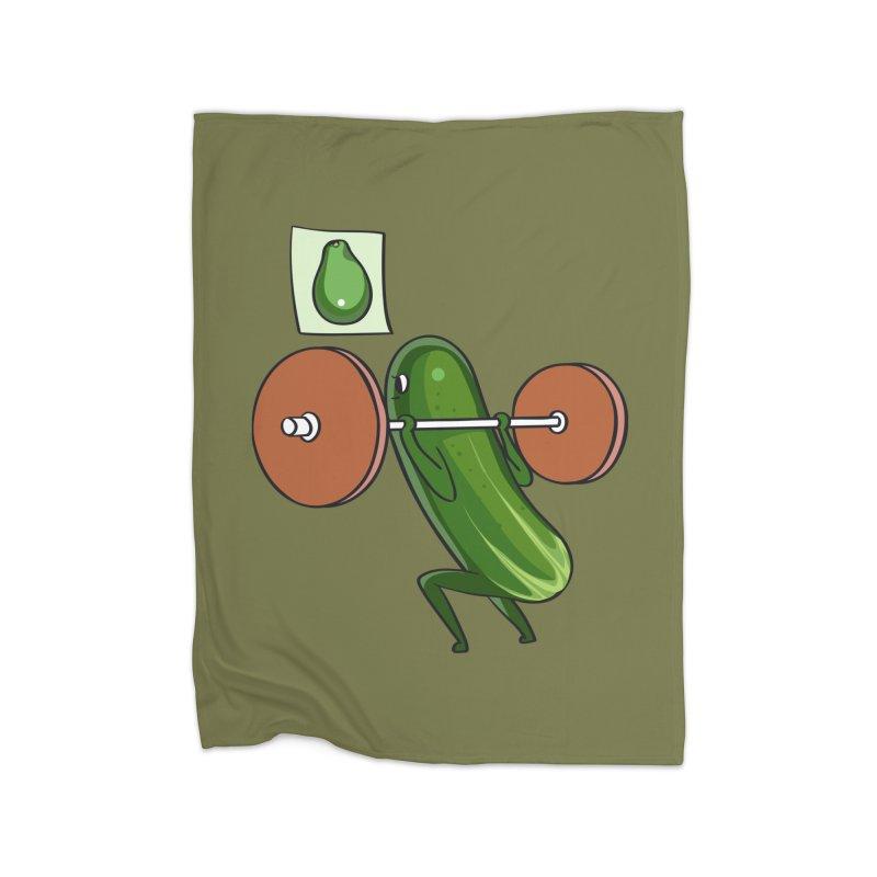 Cucumber Squats Home Fleece Blanket Blanket by huebucket's Artist Shop