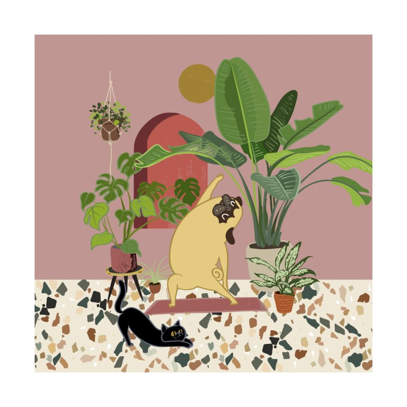Pug Yoga with Plants by huebucket's Artist Shop