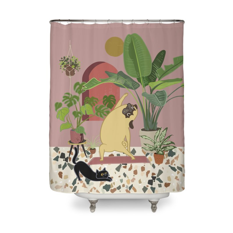 Pug Yoga with Plants Home Shower Curtain by huebucket's Artist Shop