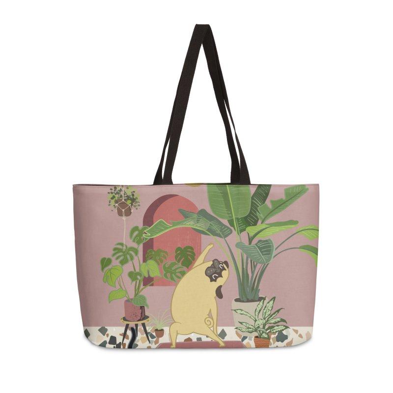 Pug Yoga with Plants Accessories Weekender Bag Bag by huebucket's Artist Shop