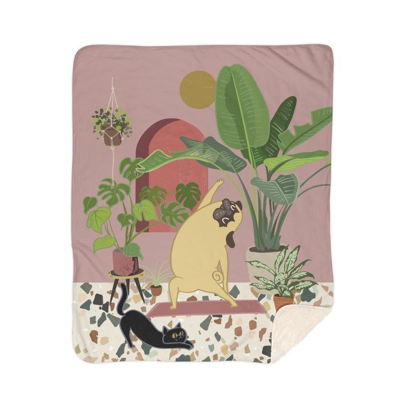 Pug Yoga with Plants Home Sherpa Blanket Blanket by huebucket's Artist Shop