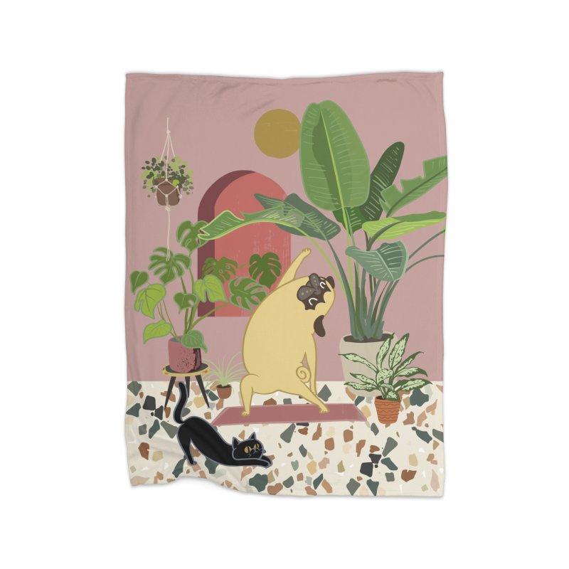 Pug Yoga with Plants Home Blanket by huebucket's Artist Shop